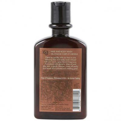 Pre de Provence No.63 Mens Hair and Body Wash - 12 Ounce - Back