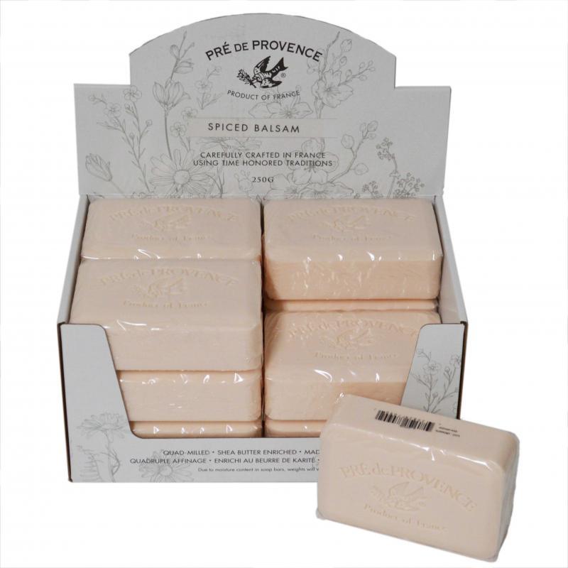 Pre de Provence Soap Spiced Balsam 250 gram Bath Shower Bar Case of 12