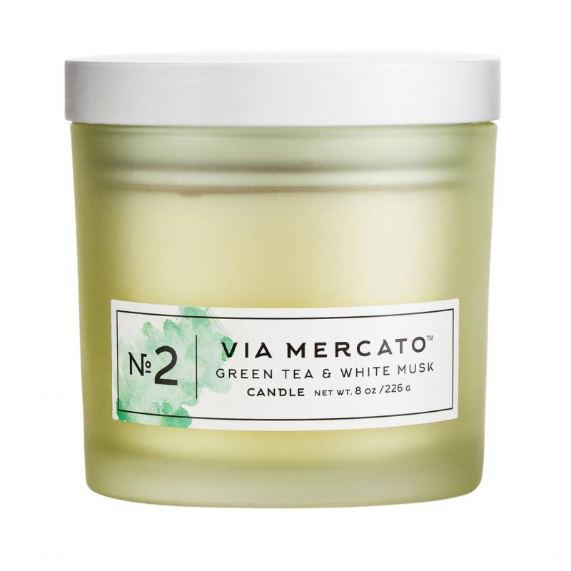 Via Mercato Soy Candle No.2 Green Tea and White Musk - 8 Ounce