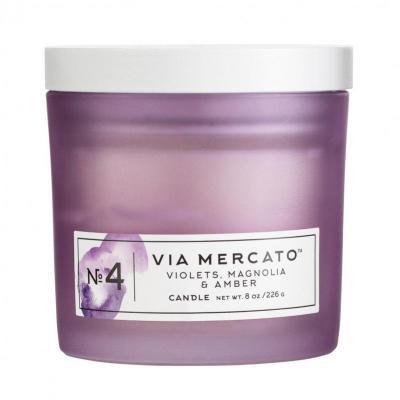 Via Mercato Soy Candle No.4 Violets, Magnolia, Amber - 8 Ounce