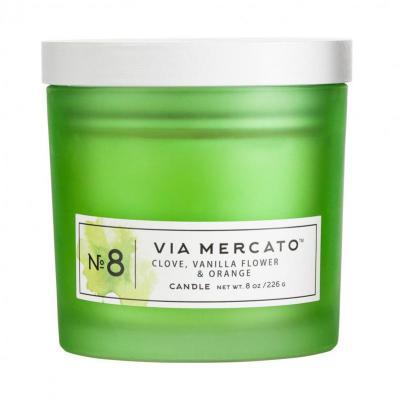 Via Mercato Soy Candle No.8 Clove, Vanilla Flower, Orange - 8 Ounce
