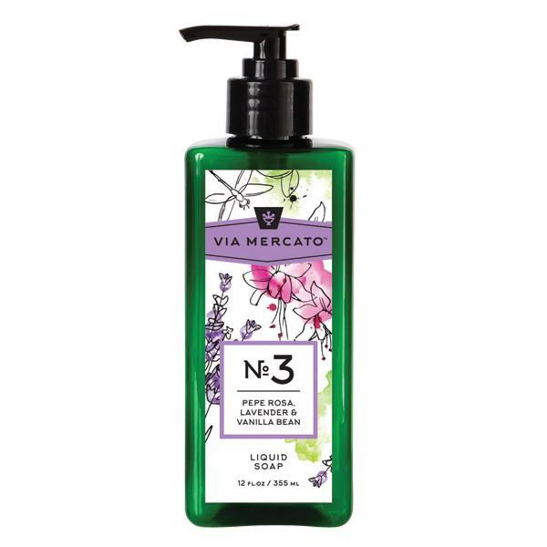 Via Mercato Liquid Soap No.3 Pepe Rosa, Lavender, Vanilla Bean - 12 Ounce