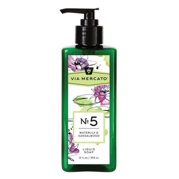 Via Mercato Liquid Soap No.5 Waterlily and Sandalwood - 12 Ounce