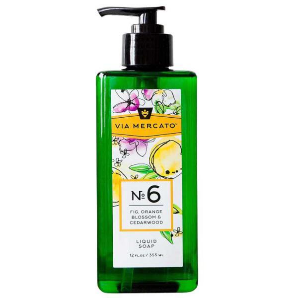 Via Mercato Liquid Soap No.6 Fig, Orange Blossom, Cedarwood - 12 Ounce