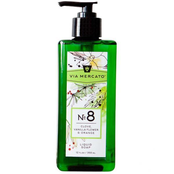Via Mercato Liquid Soap No.8 Clove, Vanilla Flower, Orange - 12 Ounce