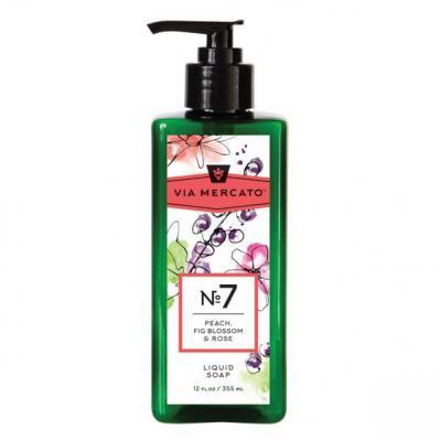 Via Mercato Liquid Soap No.7 Peach, Fig Blossom, Rose - 12 Ounce