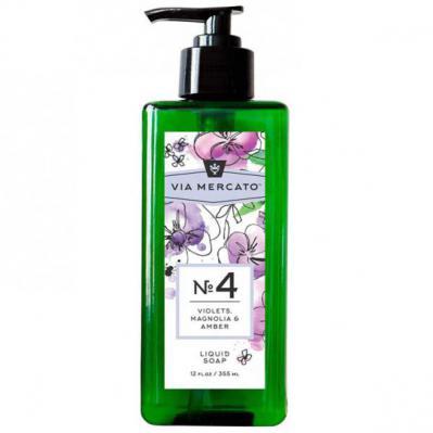 Via Mercato Liquid Soap No.4 Violets, Magnolia, Amber - 12 Ounce