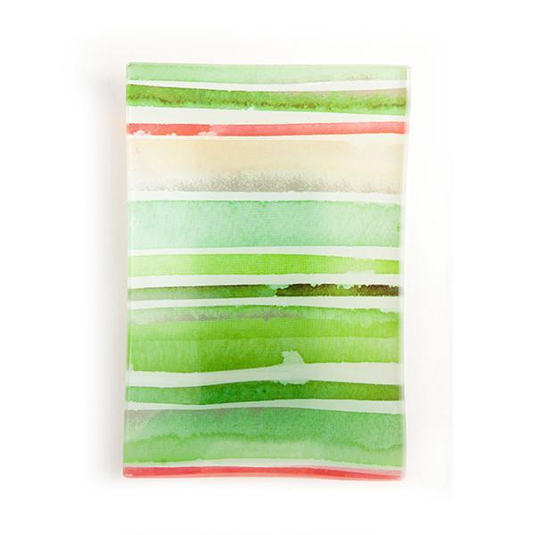 Via Mercato Decorative Glass Soap Tray Dish Green and Pink