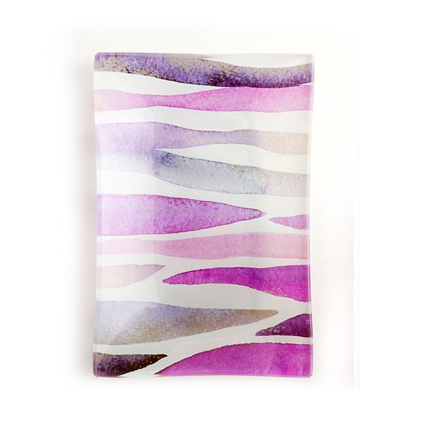 Via Mercato Decorative Glass Soap Tray Dish Purple
