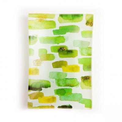 Via Mercato Decorative Glass Soap Tray Dish Green and Gold