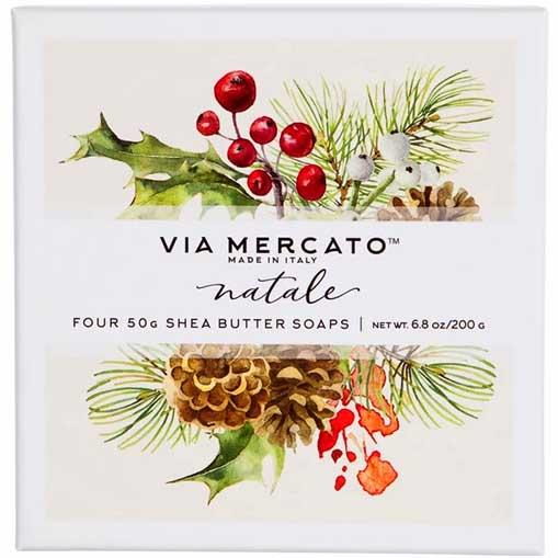 Via Mercato Soap Natale Winter Holiday Gift Set Box of 4 x 50 grams