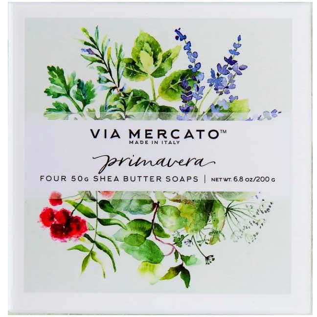 Via Mercato Soap Primavera Fresh Herbs Gift Set Box of 4 x 50 grams