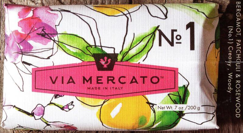Via Mercato Soap No.1 Bergamot Patchouli Rosewood 200 gram Bath Bar