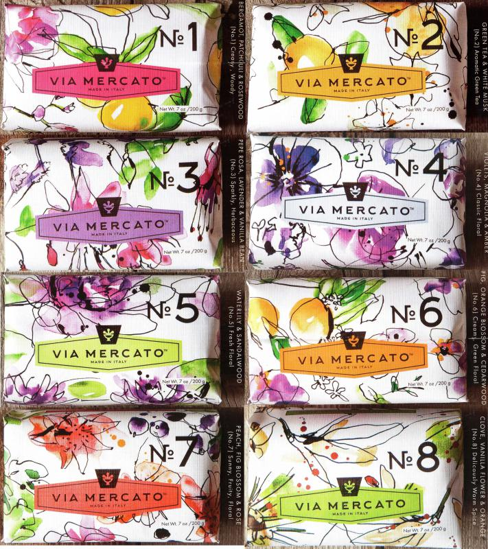 Via Mercato Soap Variety Pack No.1 thru No. 8, 200 grams each bar