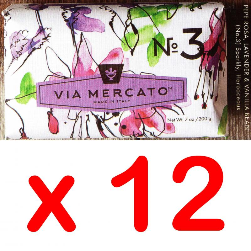 Via Mercato Soap No.3 Pepe Rosa, Lavender, Vanilla Bean 200 gram Bath Bar Case of 12