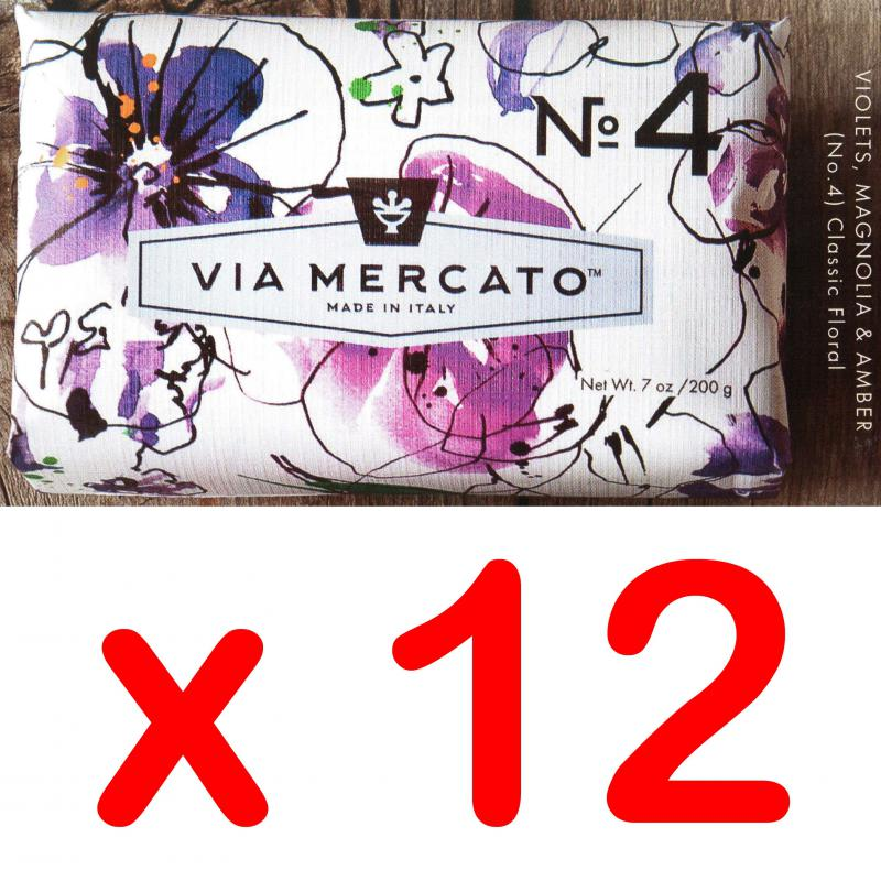 Via Mercato Soap No.4 Violets, Magnolia, Amber 200 gram Bath Bar Case of 12