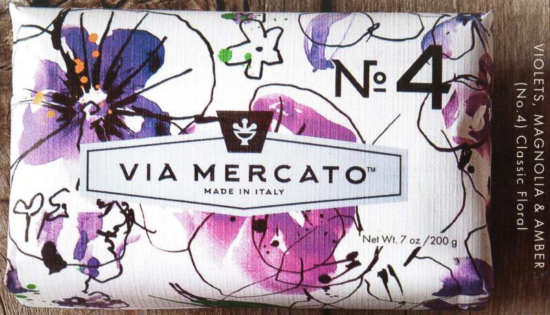 Via Mercato Soap No.4 Violets Magnolia Amber 200 gram Bath Bar