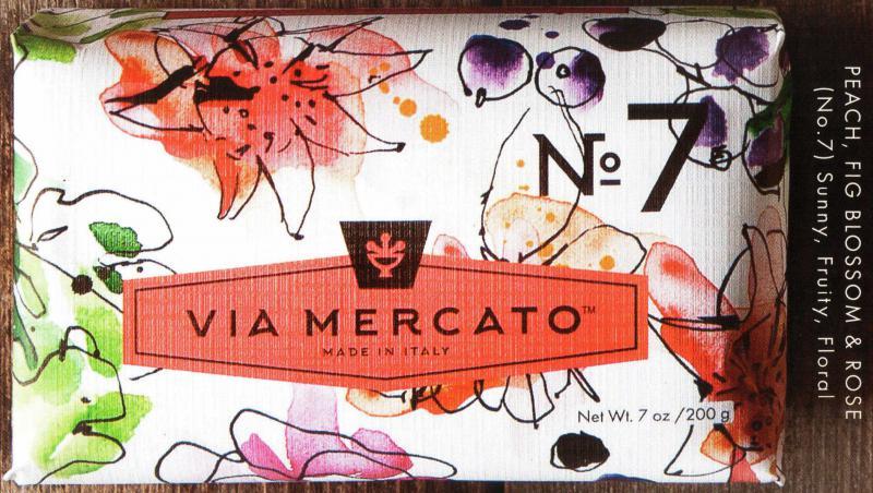 Via Mercato Soap No.7 Peach, Fig Blossom and Rose 200 gram Bath Bar