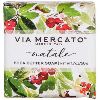Via Mercato Natale Winter Holiday Gift Set Box Holly Berry Soap 50 gram