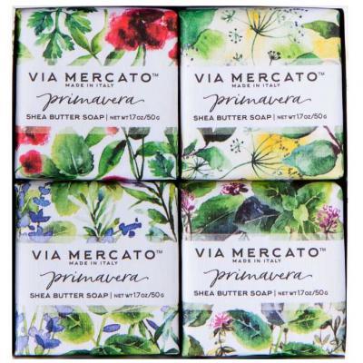 Via Mercato Soap Primavera Fresh Herbs Gift Set Box of 4 x 50 grams Contents