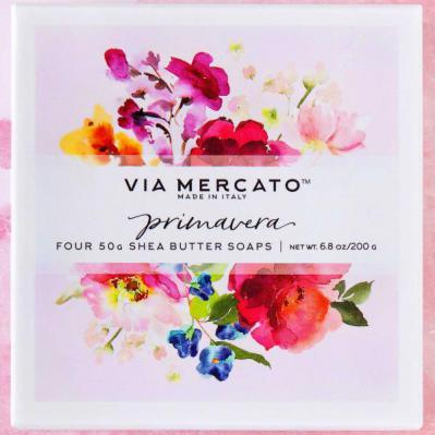 Via Mercato Soap Primavera Spring Flowers Gift Set Box of 4 x 50 grams