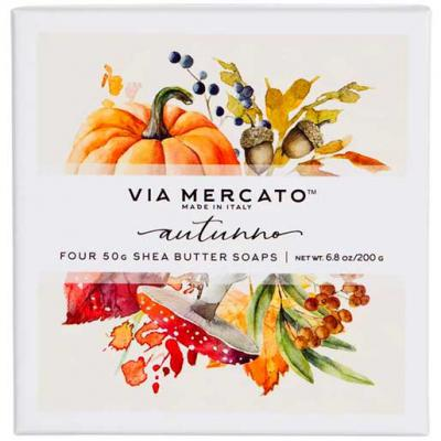 Via Mercato Soap Autunno Autumn Fall Harvest Gift Set Box of 4 x 50 grams