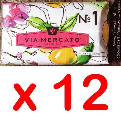 Via Mercato Soap No.1 Bergamot, Patchouli and Rosewood 200 gram Bath Bar Case of 12