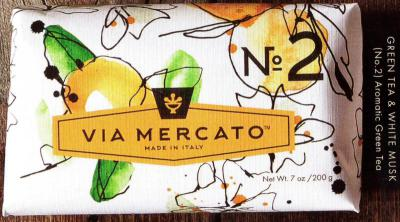 Via Mercato Soap No.2 Green Tea, White Musk 200 gram Bath Bar Wrapped