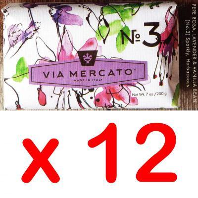 Via Mercato Soap No.3 Pepe Rosa, Lavender, Vanilla Bean 200 gram Bath Bar Case of 12