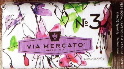 Via Mercato Soap No.3 Pepe Rosa, Lavender, Vanilla Bean 200 gram Bath Bar Wrapped