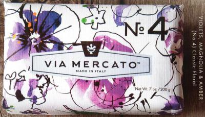Via Mercato Soap No.4 Violets, Magnolia, Amber 200 gram Bath Bar Wrapped