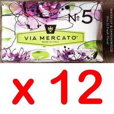 Via Mercato Soap No.5 Waterlily, Sandalwood 200 gram Bath Bar Case of 12