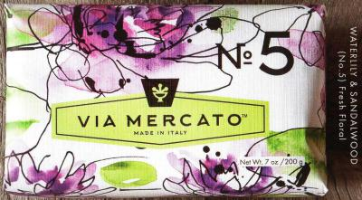 Via Mercato Soap No.5 Waterlily, Sandalwood 200 gram Bath Bar Wrapped