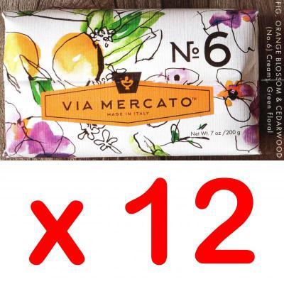 Via Mercato Soap No.6 Fig, Orange Blossom, Cedarwood 200 gram Bath Bar Case of 12