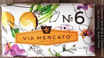 Via Mercato Soap No.6 Fig, Orange Blossom, Cedarwood 200 gram Bath Bar Wrapped