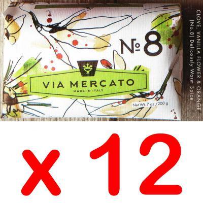 Via Mercato Soap No.8 Clove, Vanilla Flower, Orange 200 gram Bath Bar Case of 12