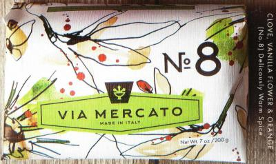 Via Mercato Soap No.8 Clove, Vanilla Flower, Orange 200 gram Bath Bar Wrapped