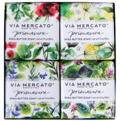 Via Mercato Soap Primavera Fresh Herbs Gift Set Box of 4 x 50 grams