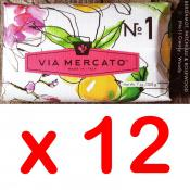 Via Mercato Soap No.1 Bergamot, Patchouli and Rosewood 200 gram Bath Bar Case of 12
