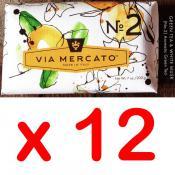 Via Mercato Soap No.2 Green Tea, White Musk 200 gram Bath Bar Case of 12