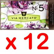 Via Mercato Soap No.5 Waterlily, Sandalwood 200 gram Bath Bar Case of 12