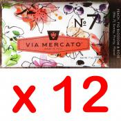Via Mercato Soap No.7 Peach, Fig Blossom, Rose 200 gram Bath Bar Case of 12