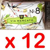 Via Mercato Soap No.8 Clove, Vanilla Flower, Orange 200 gram Bath Bar Case of 12
