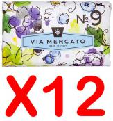 Via Mercato Soap No.9 Grape, Black Currant, Musk 200 gram Bath Bar Case of 12